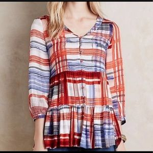 Maeve Lila button front plaid tiered tunic top